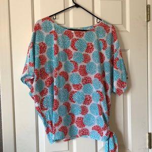 Michael Kors coral boxy blouse
